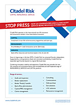 Citadel Risk stop press advert